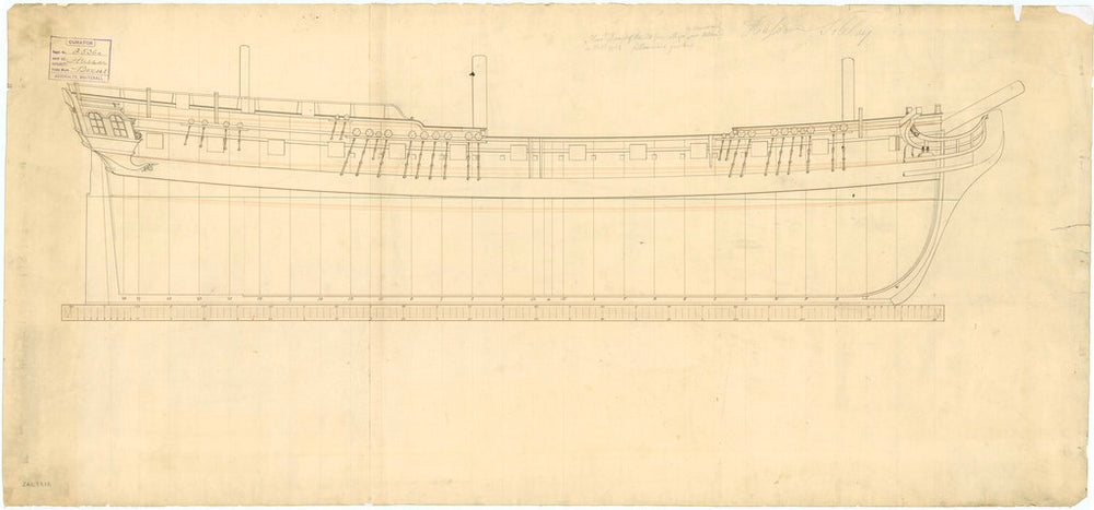 Plan showing the sheer lines, including one water line, for Hussar (1763) and later for Soleby (1763)