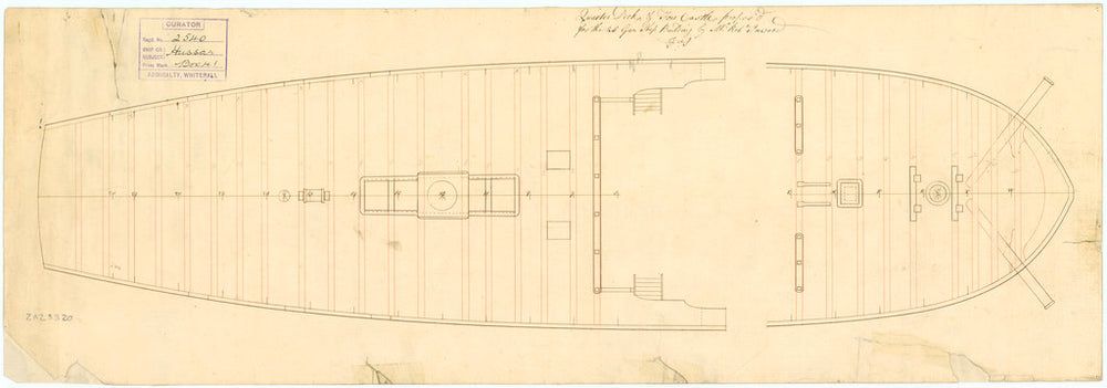 . Plan showing the quarter deck and forecastle as proposed for Hussar (1763)
