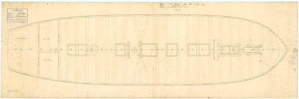 Upper deck plan for the Hussar (1763)