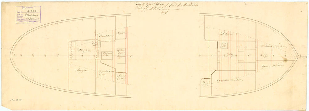 Plan showing the fore & aft platform as proposed for Hussar (1763)