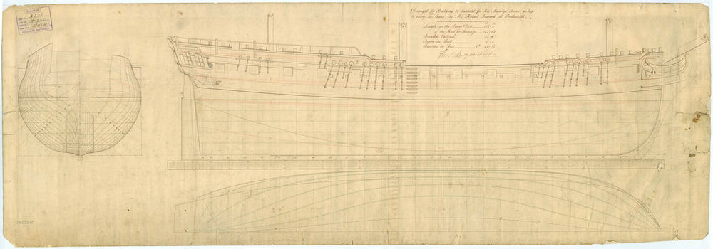 Plan showing the body plan, sheer lines and longitudinal half breadth for building Hussar (1763)