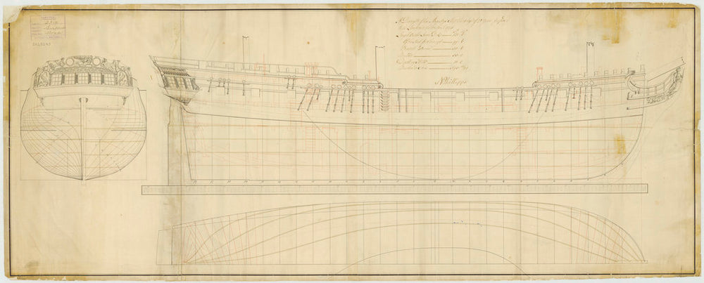 Lines & Profile plan of Surprize (1774)