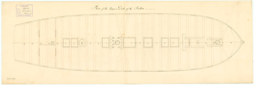 Plan showing the upper deck for Triton (1771)