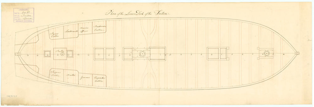Plan of lower deck for Triton (1771)