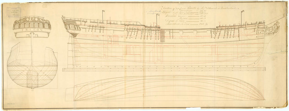 Plan showing the body plan, stern board outline, sheer lines, and longitudinal half breadth for Triton (1771) and Greyhound (1773)