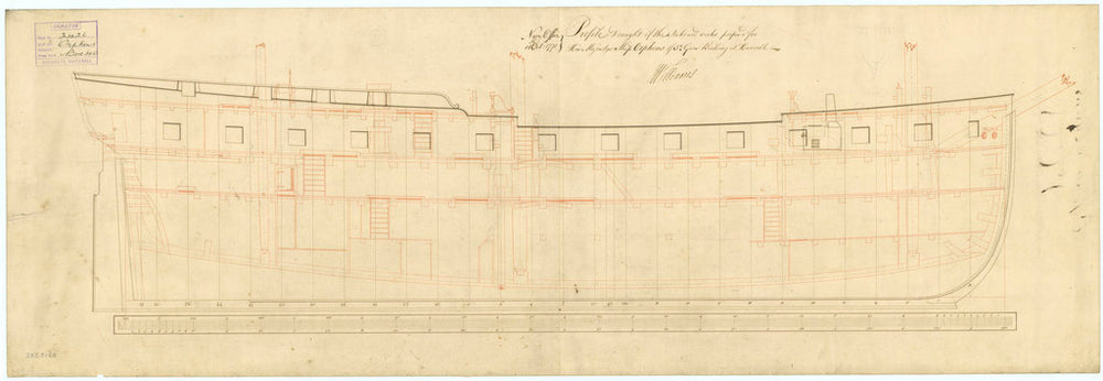 Inboard profile plan of 'Orpheus' (1773)