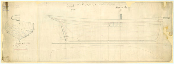 Sheer Draught plan for two Coast Guard Cruisers 'Hind' and 'Rose'