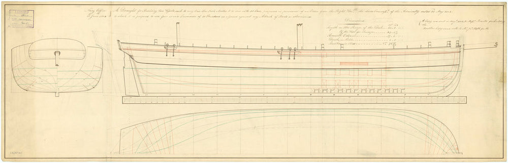 Lines and profile plan for Convulsion (1804)