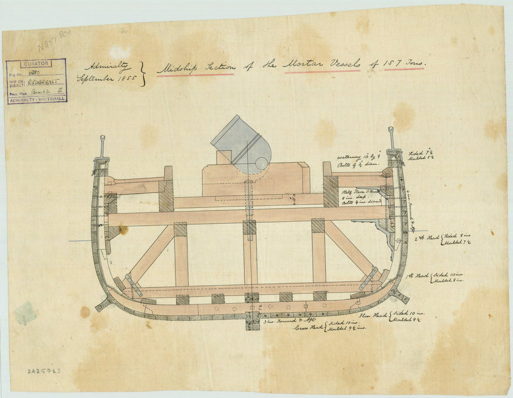 Plan of midship section for Redbreast (1855), Raven (1855) and Rocket (1855)