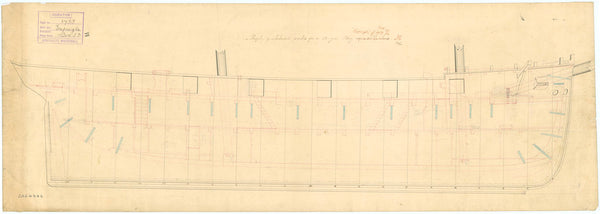 Inboard profile plan for HMS 'Espiegle' (1844) a 12 gun brig
