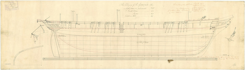 Lines plan for HMS 'Rover' (1832)