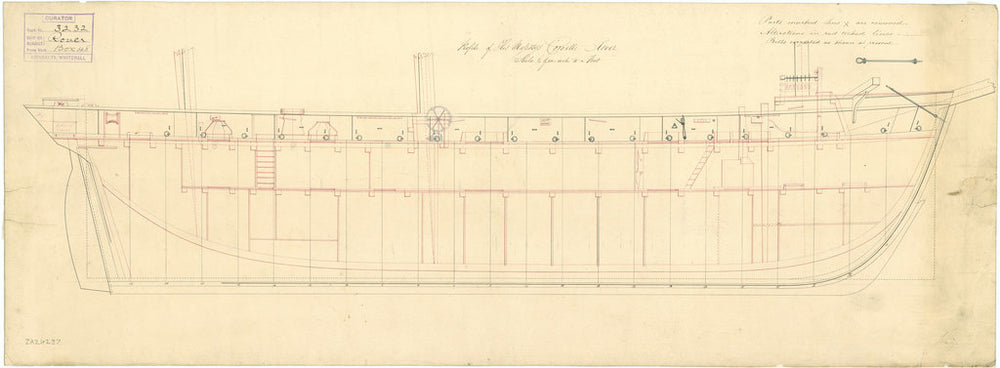 Inboard profile plan for HMS 'Rover' (1832)