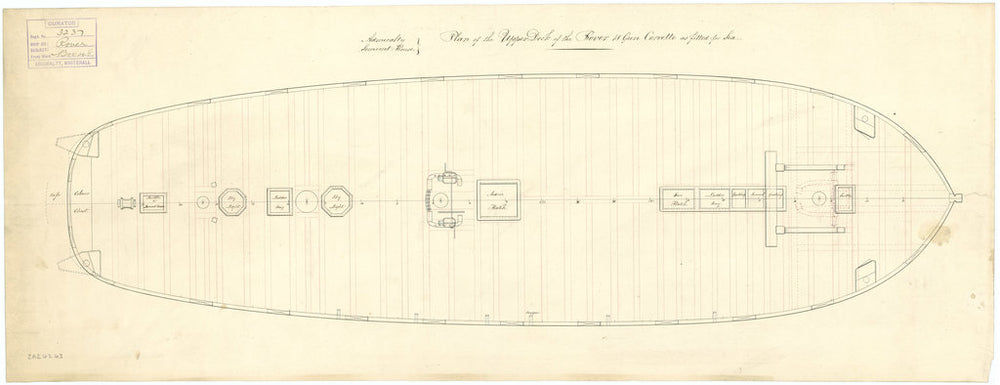 Upper deck plan for HMS 'Rover' (1832)