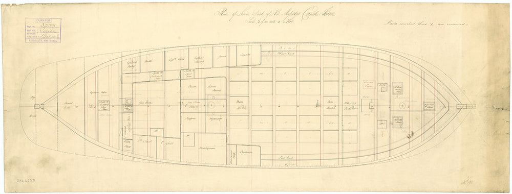 Lower deck plan for HMS 'Rover' (1832)