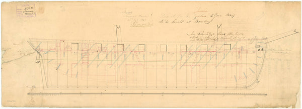 Inboard profile plan for HMS 'Jumna' (1848)