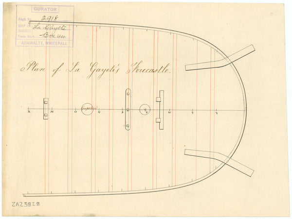 Forecastle deck plan for HMS 'Gaiete' (1797) (also 'La Gayete')