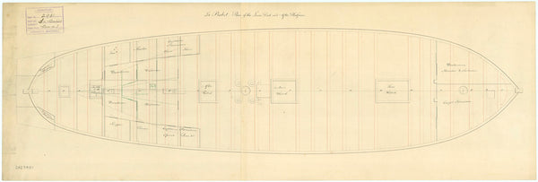 Lower deck plan for HMS 'Babet' (1794) 'La Babet'