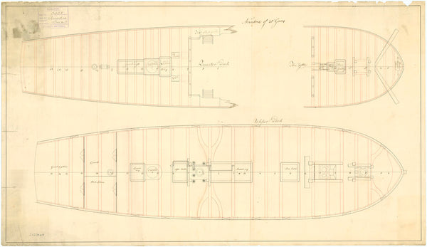 Upper deck plan for HMS 'Ariadne' (1776)