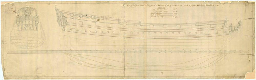 Lines plan for vessel 'Charles Galley' (1676)