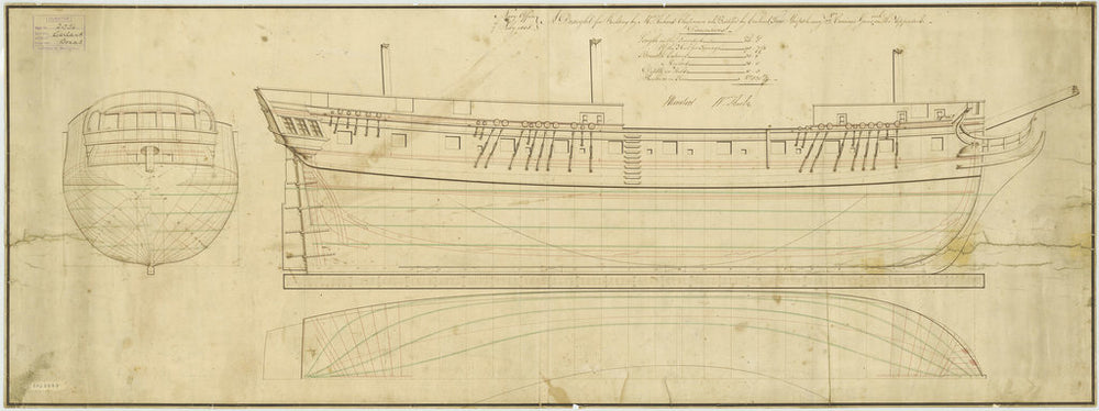 Lines plan for HMS 'Garland' (1807)