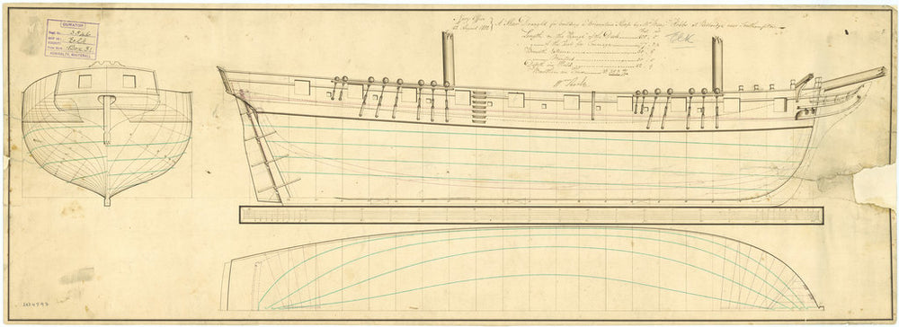 Lines plan for HMS 'Elk' (1813)