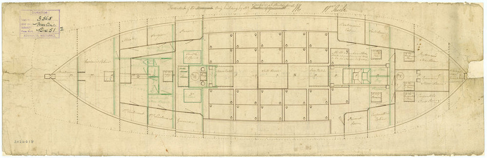 Lower deck plan for HMS 'Mutine' (1806)