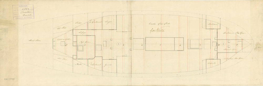Lower deck plan for 'Orestes' (1781)