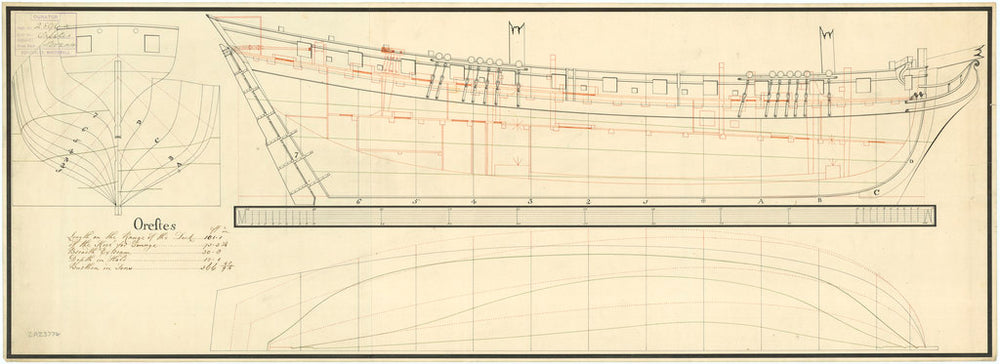 Lines and profile plan for 'Orestes' (1781)