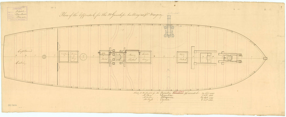 Upper deck plan for Banterer (1807), Cossack (1806), Crocodile (1806), Cyane (1806), Daphne (1806), Pandour (1806) and Porcupine (1807)