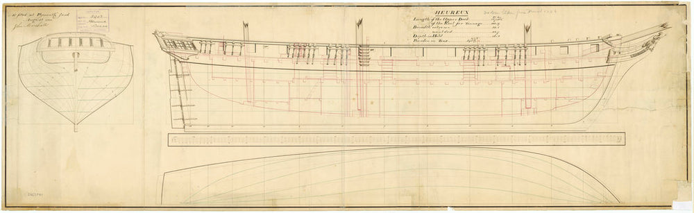 Lines and profile plan for Heureux (fl. 1799)