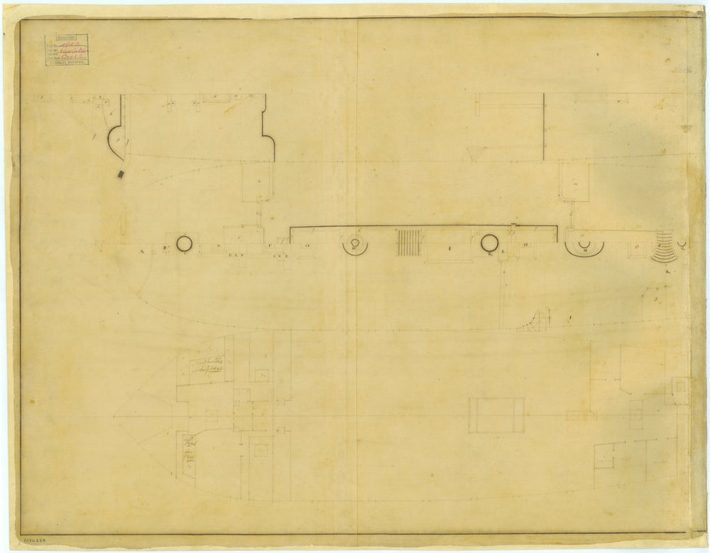Half of a deck plan for Resolution (1708)
