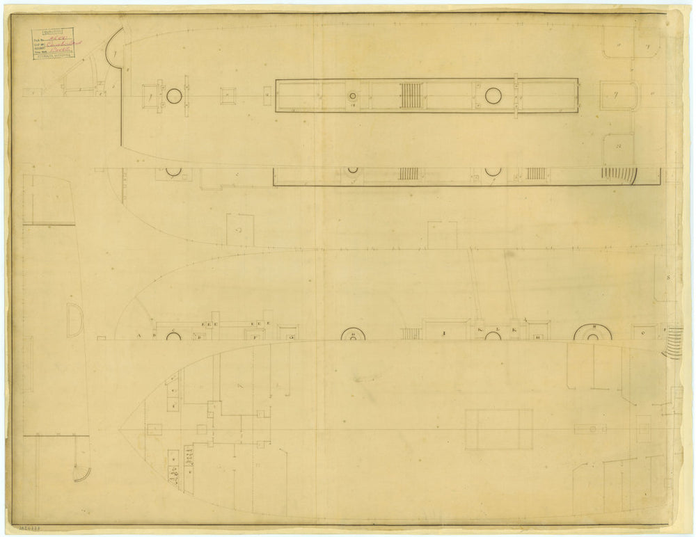 Deck plan for Cumberland (1710)