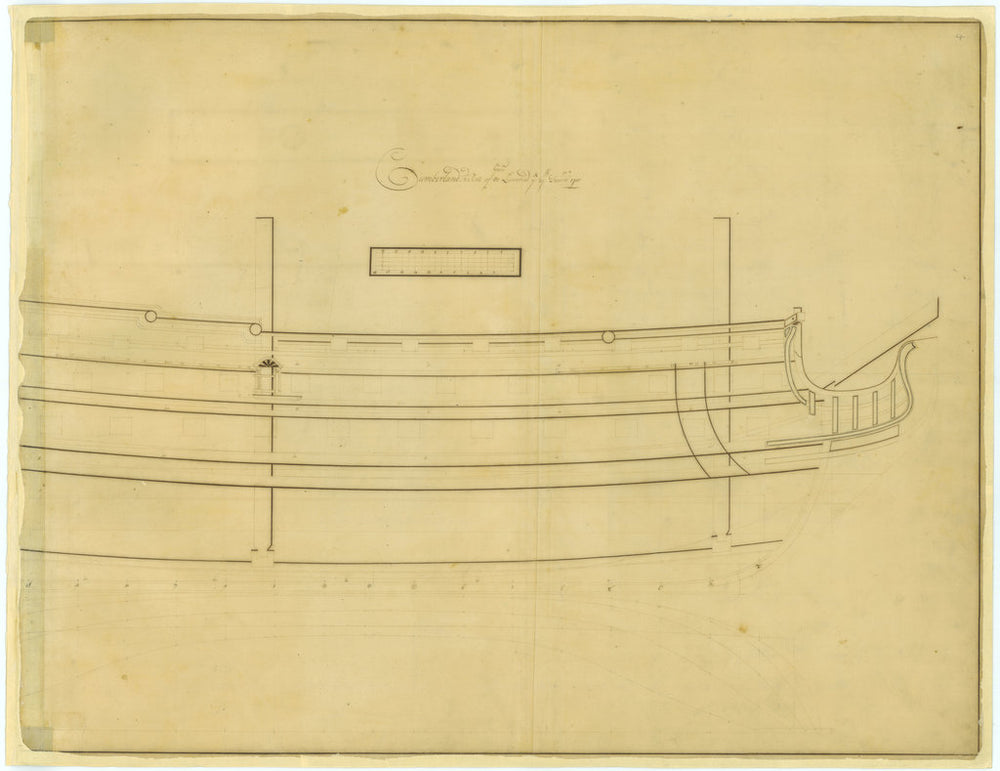 Reverse of deck plan for Cumberland (1710)
