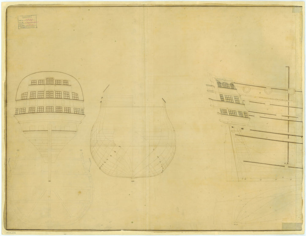 Lines plan for Cumberland (1710)