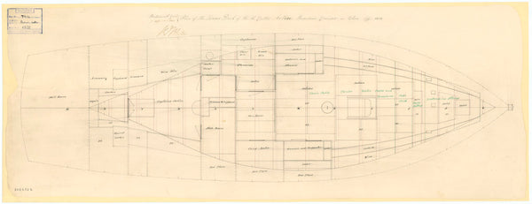 Lower deck plan for the Cutter HMS 'Active', a Revenue Cruiser
