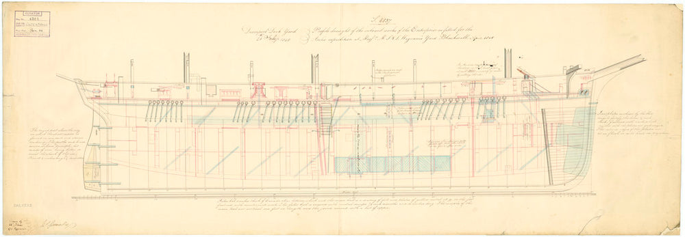 Inboard profile plan for 'Enterprise' (1848)