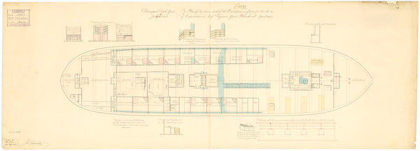 Lower deck plan for 'Enterprise' (1848)