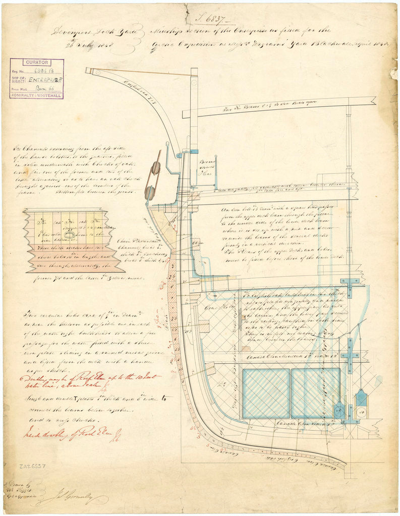 Midship section plan for 'Enterprise' (1848)