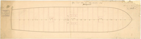 Upper deck plan for 'Enterprise' (1848)
