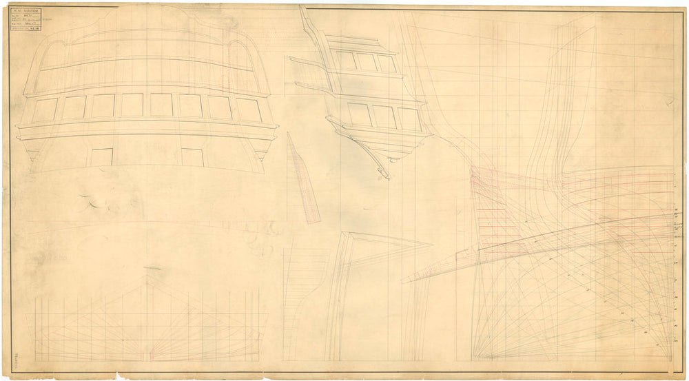 Stern board outline, quarter gallery outline, stern quarter lines elevation superimposed with the stern body plan, and longitudinal half-breadth for an unnamed large warship (possibly 80-guns), no date but watermarked 1818