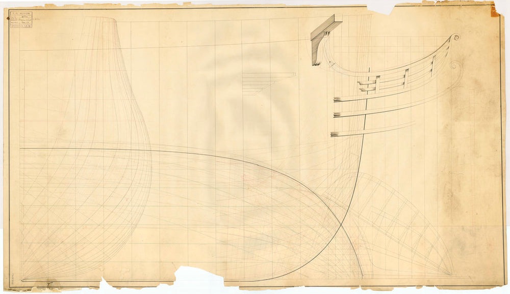 Forward body plan, bow longitudinal half-breadth and lines elevation and outline of the head rail for an unnamed large warship (possibly 80-guns), no date but watermarked 1818