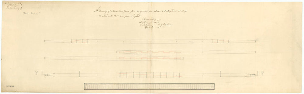 Elevation of a made main yard using the tongue method of scarphing at each end, and an elevation and longitudinal section of a made yard scarphed in the middle for 100-gun ships, 1779