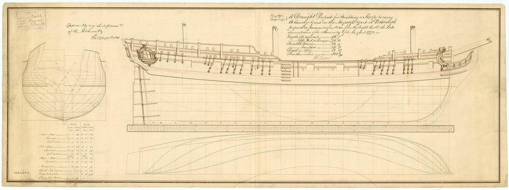 Lines plan of Cygnet (1776)