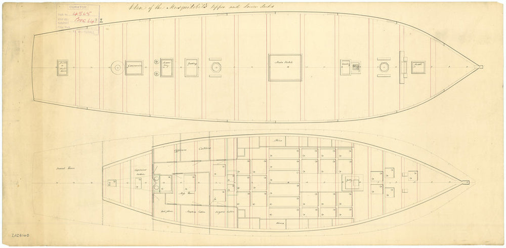 Lines and profile plan for Musquidobit (1813)