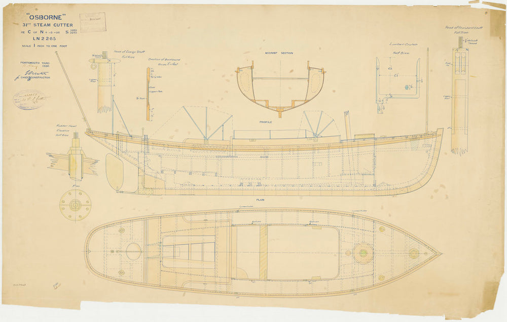 Profile plan of the 'Osborne' (1870)
