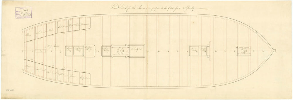 Lower deck plan for 'Anson' (1781)
