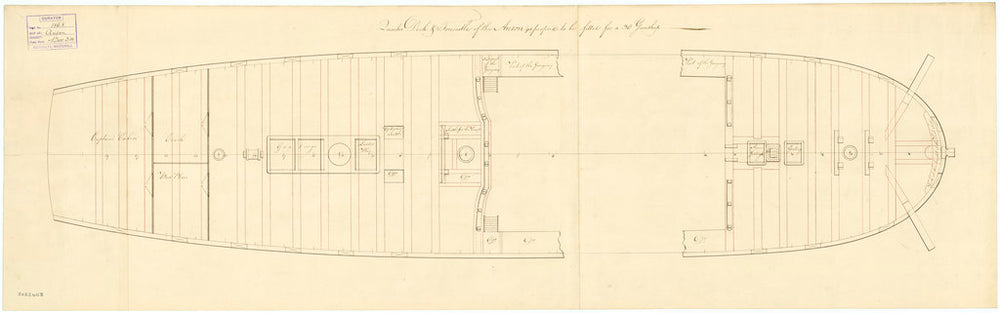 Deck, quarter & forecastle plan for 'Anson' (1781)