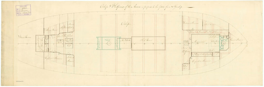 Deck, orlop plan for 'Anson' (1781)