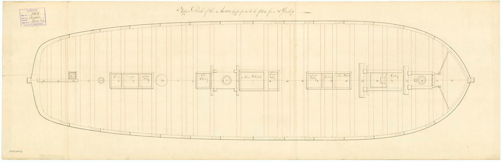 Upper deck plan for 'Anson' (1781)