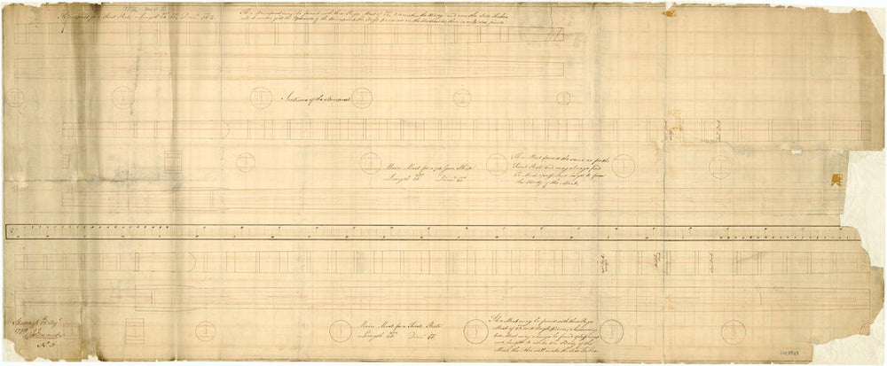 Elevations, sections and cross sections for a made bowsprit for 1st Rates, a made main mast for 74-gun ships, 1778